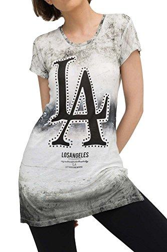 trueprodigy Casual Damen Marken T-Shirt Kleid mit Aufdruck, Oberteil cool und stylisch mit Rundhals (kurzarm & Slim Fit), langes Top für Frauen bedruckt Farbe: Schwarz 1073528-2999 Black