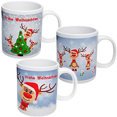 alles-meine.de GmbH 3 Stück _ Henkeltassen / Kaffeetassen -  Weihnachten - lustige Rentiere  - groß - 300 ml - Porzellan / Keramik - Teetasse - Weihnachtstasse / Glühweintasse ..