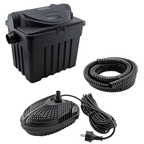 JAD YT-01 - Teichfilter-Set für Teiche bis 6000L: inkl. UV-Filter, Pumpe, Schlauch und Zubehör, Filtersystem UVC 9 Watt Teichpumpe 1500l/h -