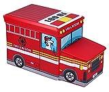 Amazinggirl Sitzhocker mit Stauraum Faltbarer und Moderne Motiv Falthocker ALS Aufbewahrungsbox Sitzwürfel und Deckel (Fire Truck, 55 x 26 x 31cm)