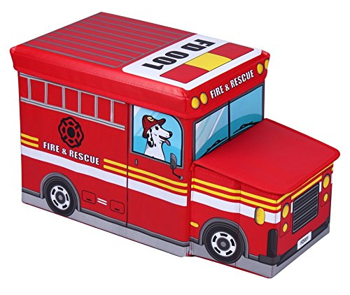 Amazinggirl Sitzhocker mit Stauraum Größe: 55 x 26 x 31cmFaltbarer und Moderne Feuerwehrauto...