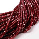 Piedras Preciosas ágata Perlas Granate Garnet Rojo 8 mm Rondelle facettiert 15 Stk...