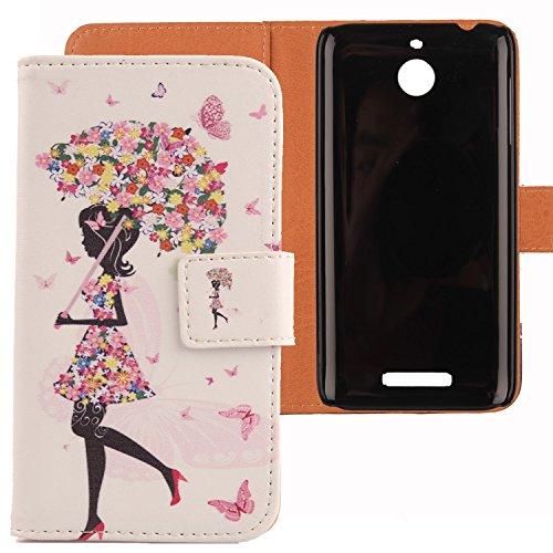 Lankashi PU Flip Leder Tasche Hülle Case Cover Schutz Handy Etui Skin Für HTC Desire 510 Umbrella Girl Design