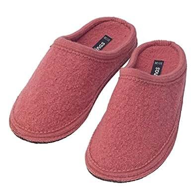 bacinas Hausschuhe Damen | Warme Pantoffeln aus 100% Schurwolle. Die Pantoletten aus gewalkter Schafwolle Sind Ideal als Gästeschuhe Oder als Bequeme Slipper für zu Hause Altrosa Größe:41/42
