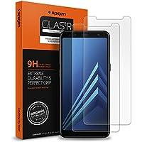 Spigen 2Pezzi, Vetro Temperato Samsung Galaxy A8 2018, proteggischermo Trasparente, Pellicola Samsung Galaxy A8 2018, Protezione per Schermo (590GL24014)