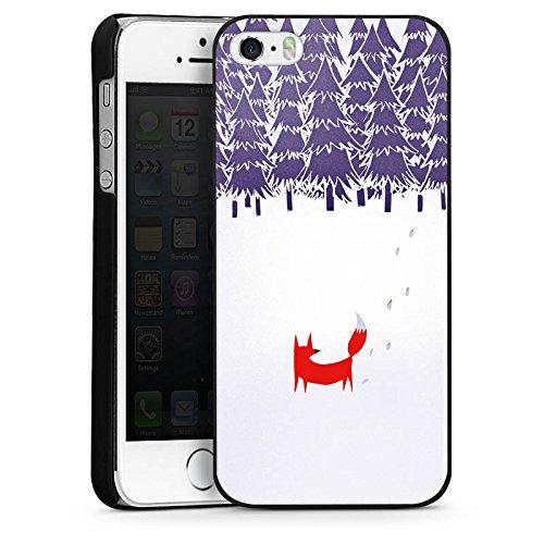 Apple iPhone 5s Housse Étui Protection Coque Forêt Renard Art CasDur noir