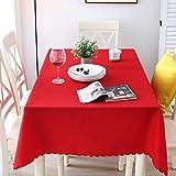 Nclon Volltonfarbe Polyester Tischdecke Tischtuch tischwäsche, Ideal für Buffet-Tisch, Auf Hochzeiten oder, Weihnachtsessen, In Ihrem Zuhause, Bankett-danksagung-Rot 90 * 90cm