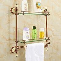 Hlluya Toalla Mounted Rack Todos Cobre Jade Natural Productos de baño  Estante Antiguos Capa Individual Vidrio bd555af172f1