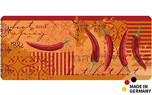 matches21 Küchenläufer Teppichläufer Teppich Läufer rot orange Chili Pepperoni 50x120x0,4 cm maschinenwaschbar Rutschfest Küchenvorleger