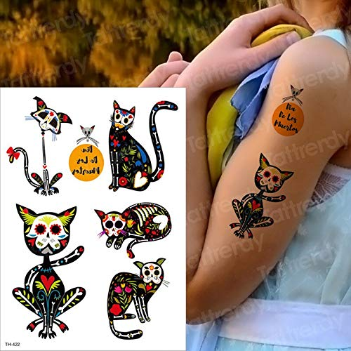 tzxdbh Tattoo Frauen wasserdicht Gesicht malen Tattoo temporäre Mode Katze Tattoo Halloween Körper Aufkleber Mandala Tiere (Mensch-katze-gesichter Für Halloween)