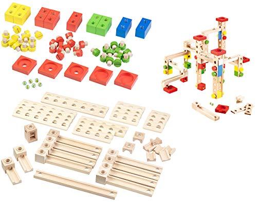Playtastic Holzkugelbahn: Großer Kugelbahn-Bausatz aus Holz, 100-teilig (Holz Kugelbahn-Bausatz für Kind)