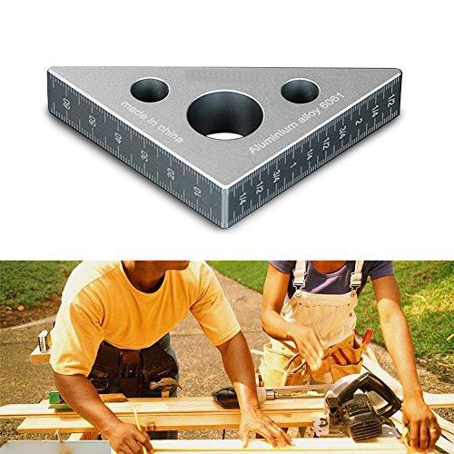 omufipw Aluminiumlegierung Winkel Lineal Messwerkzeug Positionierung Quadrate 45 Grad Dreieck Lineal für Tischler (Winkel Messung)
