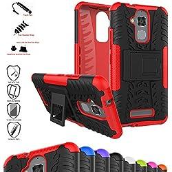 MAMA MOUTH ASUS Zenfone 3 Max ZC520TL Coque, Protection Hybride en Mélange avec Béquille De Support Intégrée Housse Coque Étui Couverture pour ASUS Zenfone 3 Max ZC520TL Smartphone,Rouge