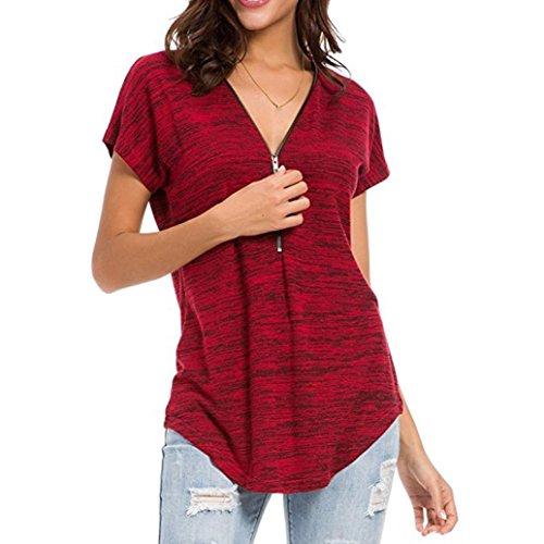 QinMM Camiseta Blusa Suelto con Cremallera de túnica de Mujer, Tops de Manga Corta Sudadera Rojo...