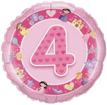 ballon '4. Geburtstsg - Prinzessin', pink, ca. 45 cm Ø, mit Gasfüllung / ohne Gruß-Karte (Prinzessin Lollipop)