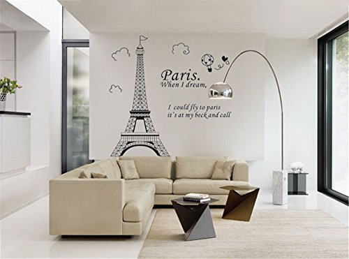ufengke Simple Élégant Paris Tour Eiffel Point de Repère Stickers Muraux, Salle de Séjour Chambre À Coucher Autocollants Amovibles