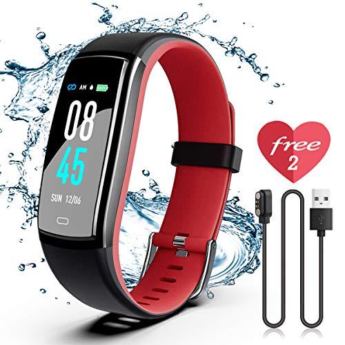 Winisok Fitness Armband mit Blutdruckmessung Pulsmesser, Fitness Tracker Uhr Wasserdicht IP67 Schrittzähler Uhr Stoppuhr Sport GPS Aktivitätstracker Schlafüberwachung Anruf SMS für Kinder Damen Männer (Training-uhr Mit Pulsmesser)