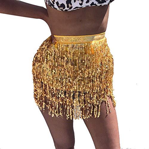 IZHH Damen TäNzerin Rock, Damenmode Pailletten Bauchtanz Riemchen Taille Kette Rock KostüM Tassel Wrap Rock Club Carnival Mini Rock (Gold,One (Weiß Und Gold Bauchtanz Kostüm)