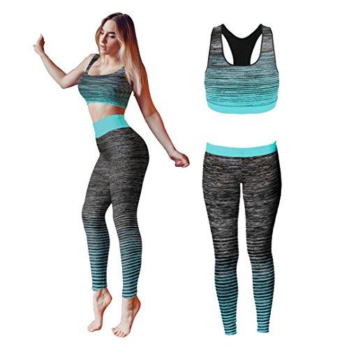 Bonjour®, Damen-Sportbekleidung für Yoga oder Fitness, Weste und bauchfreies Top und Leggings, Stretch-Fit, Turquoise Crop Top, One Size ( UK 8 - 14 ) (Shorts Workout Womens Plus)