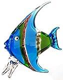 Skulptur Fisch Glas. grün/blau. H.29B.26cm