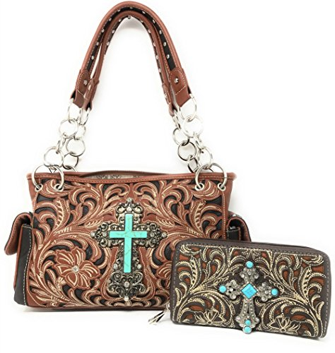 Texas West Frauen Kreuz Stickerei Ledertasche mit passender Geldbörse Medium Rosa