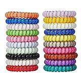 LucyGod 20 pcs 20 couleur aucun pli spirale de cheveux attache spirale cheveux élastiques sans dommages bande de queue de cheval porte-cheveux