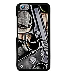 Fuson Premium 2D Back Case Cover GUN With Brown Background Degined For Micromax Canvas Fire 4 A107