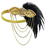 KQueenStar Damen 1920s Feder Stirnband mit 20er Jahre Haarschmuck Stil Flapper Haarband Inspiriert von Great Gatsby Damen Kostüm Accessoires