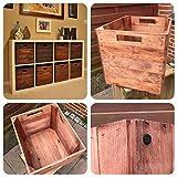 Vintage Möbel 24 GmbH 4 Stück Holzkisten in braun für Kallax Regale 33x38x33cm Kallax Expedit Einsatz Aufbewahrungsbox Aufbew