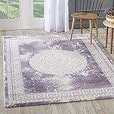 mynes Home Designer Teppich in Lila Creme Modern Orientalisches Muster Medaillon Versace MY3213...