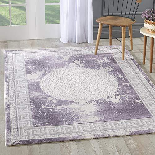 Teppich in Lila Creme Modern Orientalisches Muster Medaillon Versace MY3213 (160x230cm) ()