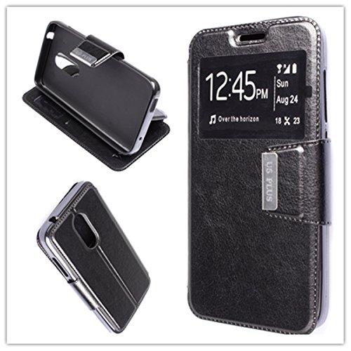 Misemiya  ® Hülle Alcatel U5 Plus/Alcatel U5 3G - Hülle + Displayschutz Hartglas Buch View Sporte Schwarz