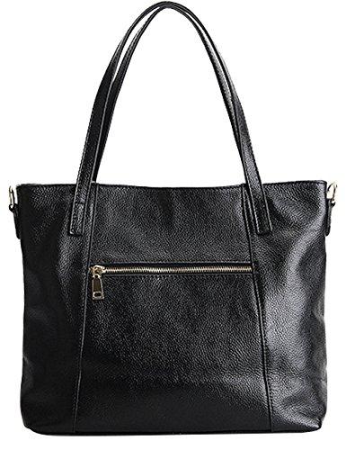 Menschwear Damen Echtes Leder Handtasche Elegant Taschen Schwarz Schwarz