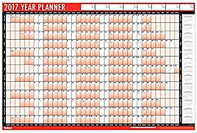 1 x 2017 A1 Laminated Yearly Wall Planners Calendars Wipe Dry Pen & Sticker Dots