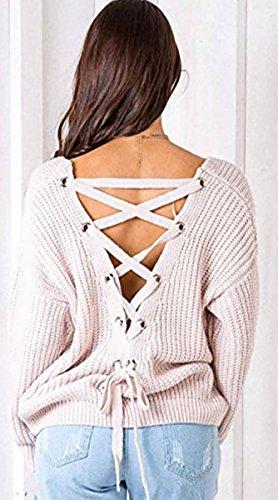 BLACKMYTH Femme Croisé Dos Nu En Tricot Pull Lace Up V Cou Chandail Sweater Abricot