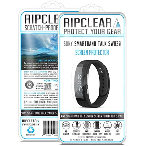 Ripclear Sony SmartBand Talk SWR30 Smartwatch Screen Protector Kit - Scratch-Resistant, All-Weather Protection, Crystal Clear - 2-Pack