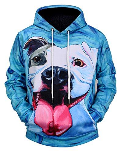 Pizoff Unisex Hip Hop Druck Sweatshirt Kapuzenpullover mit bunt 3D hund bulldog Digital Print (Neue Tee T-shirt Schwarze Hund)