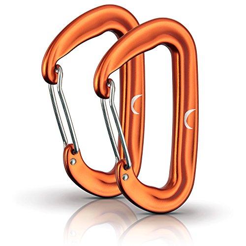 PURE HANG Karabiner Hängematte Hängesessel Befestigungs-Set Aufhängeset Camping Outdoor Mini Klein Rostfrei Aluminium Orange Ultra-leicht & Hochbelastbar - 20g pro Karabiner 12kN