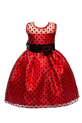 er Hochzeitgast Prinzessin Polka Dot Kleid mit Schleife Armellos Sommerkleid,Rot,8-9 Jahre Alt (Red Polka Dot Kleid Kinder)