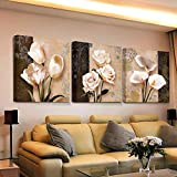 Swallow 3 Piezas de Arte de Pared decoración para el hogar Lienzo Cuadros Abstractos Flores de tulipán Pinturas para Sala de Estar Impresiones HD carteles-50 cm x 70 cm 3 Piezas sin Marco