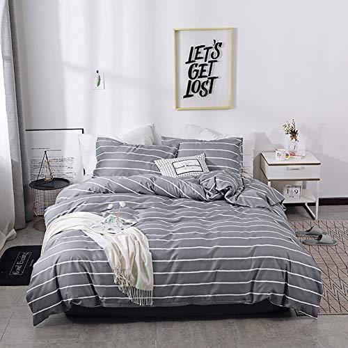 Graue Bettwäsche Bettbezug Set mit Streifen Modern Style Bettwäsche Set 2/3 Teilig mit 1 Bettbezug und 1 Kissenbezug Atmungsaktive Super Weiche mit Reißverschluss Schließung,135x200cm