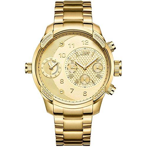 JBW Men's G3 Diamond 46MM 18K Gold Plated Bracelet Swiss Quartz Watch J6344A