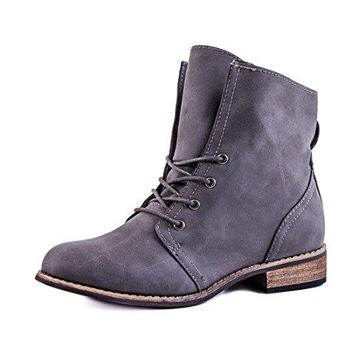 Stylische Ankle Worker Boots Schnür Stiefeletten Stiefel in hochwertiger Lederoptik Grau Glattlederoptik
