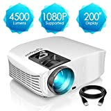 ELEPHAS Projector, 4500 Lumens HD Video Projector 200'' Home Cinema LCD Movie Projector
