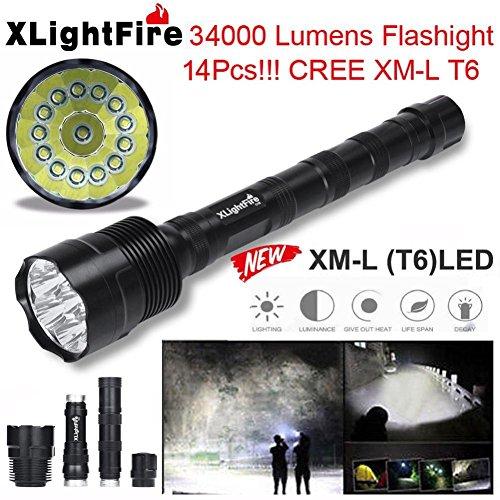 Superhell Taschenlampe, Siswong CREE XML T6 5 Modelle Wasserdicht Stoßfest Professionel Taktik Suchen Blitzlicht Laternen Stirnlampe Für Wandern, Camping, Stromausfall und Notfälle (34000LM 14 LED)