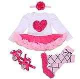 Feoya Mädchenrock Neugeborene Rock Stirband Schuhe Beinewärmer Langärmelig Tutu Tanzkleid Partykleid Romper Cosplay Kostüm für Halloween Karneval-S-Herz