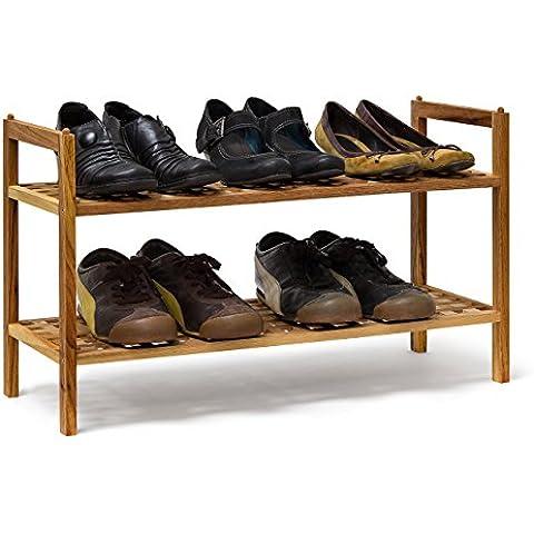 Relaxdays - Zapatero de 2 pisos, 6 pares, Medidas: 40.5 x 69 x 26 cm, Peso: 1.7 Kg, Nogal