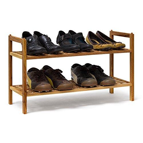 Relaxdays Schuhregal Walnuss stapelbar H x B x T: 40,5 x 69 x 26 cm Schuhablage mit 2 Ablagen für ca. 6 Paar Schuhe Holz Schuhrschrank zum aufeinander stellen aus Nuss, natur braun (Schuhregal Stapelbare)