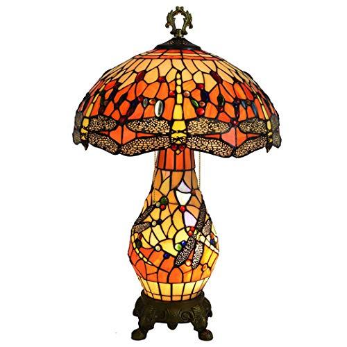 Litaotao Vintage Tiffany Stil Tischlampe 16 Zoll Schlafzimmer Nachttisch Licht Glasmalerei Schatten Mit Legierung Basis Schreibtischlampe, 110-220V, E27 / E14