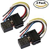 Ehdis® 5 hilos Pin de retransmisión por cable zócalo de cables del conector 12VDC 40A SPDT multiusos Heavy Duty Standard Kits de relé para el coche Automotive, pack de 2